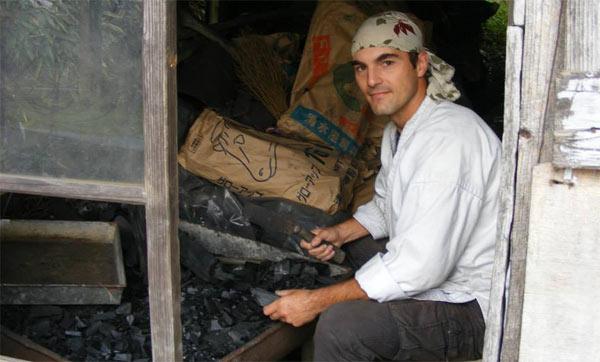 Martin cutting charcoal :)